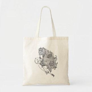 À lua e à parte traseira bolsas para compras