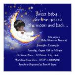 A lua e o chá de fraldas traseiro convites personalizado