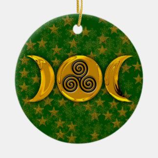 A lua tripla dourada espiral tripla Stars flocos Ornamento De Cerâmica Redondo