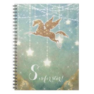 A luz do ouro do brilho do unicórnio Stars a Caderno