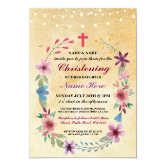A luz transversal floral do baptismo do batismo do convite 12.7 x 17.78cm