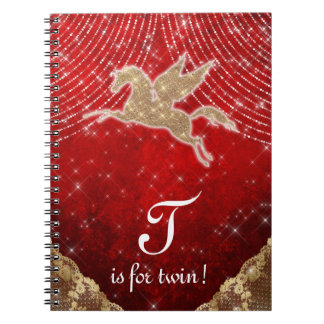 A luz vermelha do ouro do brilho do unicórnio cadernos