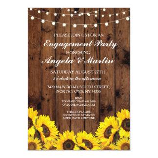 A madeira da festa de noivado ilumina girassóis convite 12.7 x 17.78cm