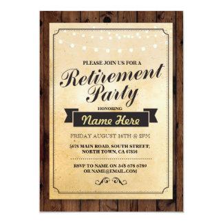 A madeira do partido de aposentadoria aposentada convite 12.7 x 17.78cm