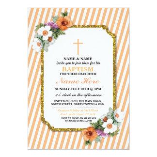 A madeira floral da menina do baptismo do batismo convite 12.7 x 17.78cm