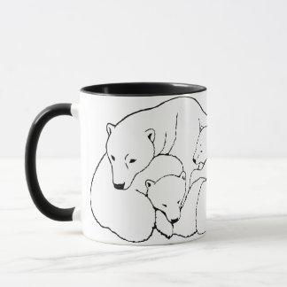 A mãe & Cubs da caneca de café da arte do urso