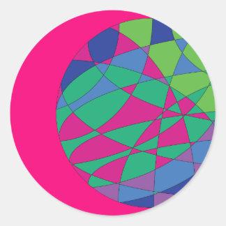 A magenta redonda das etiquetas coloridas colore a
