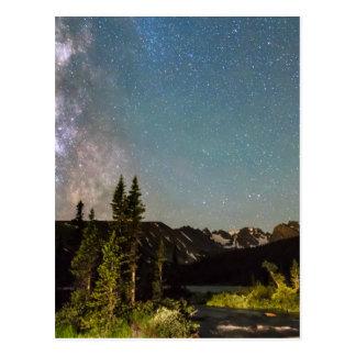 A mágica da Via Láctea Longs lago e os picos do Cartão Postal