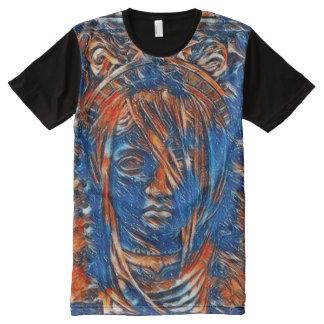 A maioria de pintura acrílica do espírito popular camiseta com impressão frontal completa