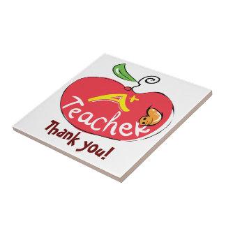 A mais a maçã do professor com obrigado você rotul azulejo quadrado pequeno