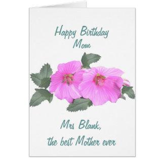 A MAMÃ do cartão de aniversário do mallow de