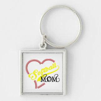 A mamã do softball do coração do ponto da emenda chaveiro