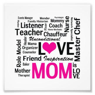 A mamã é amor - dia das mães ou aniversário da mãe impressão de foto
