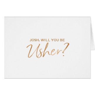 A mão de cobre rotulada você será meu arrumador cartão comemorativo
