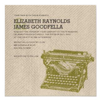A máquina de escrever antiga fecha convites do