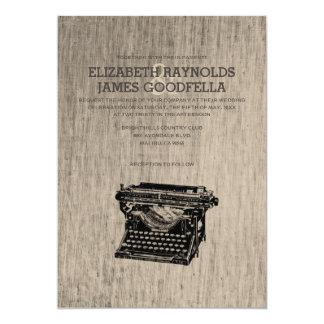 A máquina de escrever do vintage fecha convites do