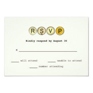 A máquina de escrever do vintage fecha RSVP Convite 8.89 X 12.7cm