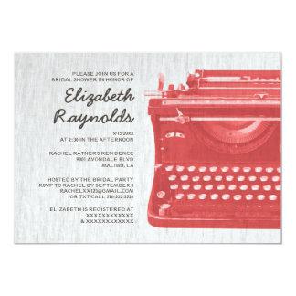 A máquina de escrever elegante fecha chás de convite 12.7 x 17.78cm