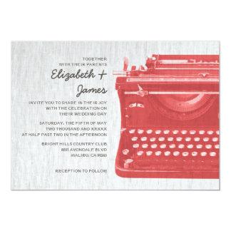 A máquina de escrever elegante fecha convites do