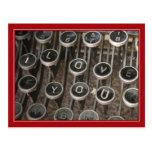 """A máquina de escrever fecha """"eu te amo """" cartões postais"""