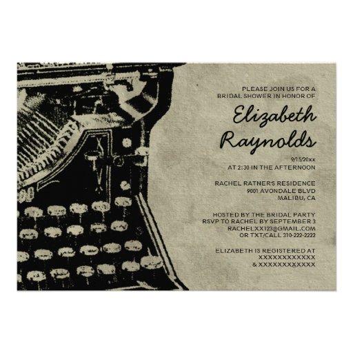 A máquina de escrever retro fecha chás de panela convites