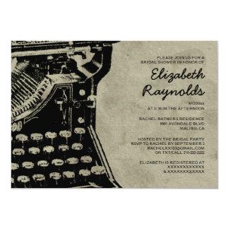 A máquina de escrever retro fecha chás de panela convite 12.7 x 17.78cm