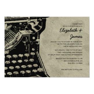 A máquina de escrever retro fecha convites do