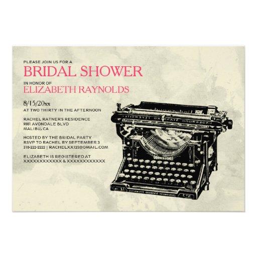 A máquina de escrever rústica fecha chás de panela convite