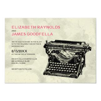 A máquina de escrever rústica fecha convites do
