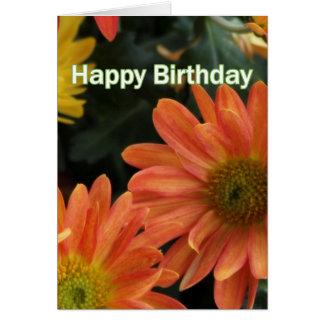 A margarida alaranjada bonita floresce o feliz cartão comemorativo