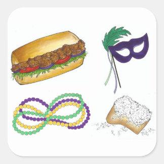 A máscara de NOLA Nova Orleães do carnaval perla Adesivo Quadrado