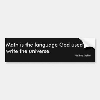 A matemática é o deus da língua usado para escreve adesivo para carro