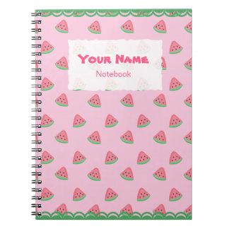 A melancia bonito corta o caderno do teste padrão