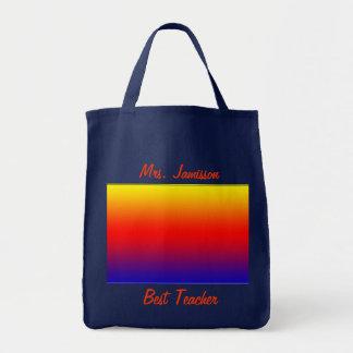 A melhor bolsa de canvas do professor, arco-íris