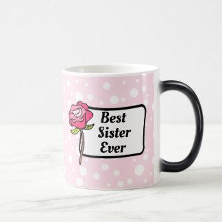 A melhor caneca de café pontilhada do rosa da irmã
