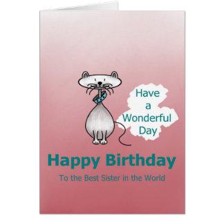 À melhor irmã no cartão de mundo-aniversário