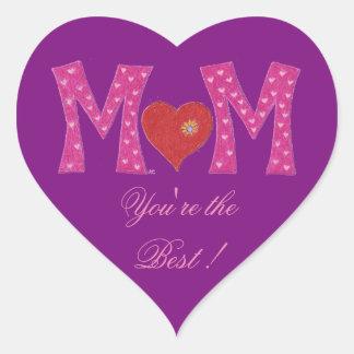 A melhor mamã, etiquetas do roxo do coração do dia