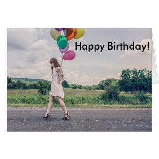 A menina balloons a aposentadoria do aniversário cartão comemorativo