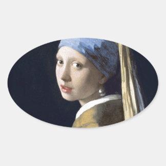 A menina com o brinco da pérola adesivos oval