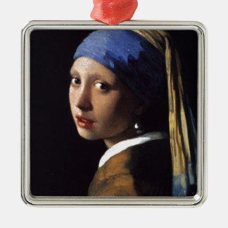 A menina com o brinco da pérola ornamento quadrado cor prata