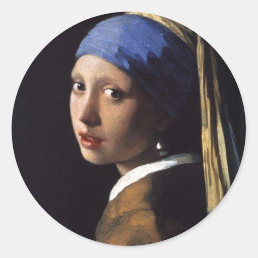 A menina com o brinco da pérola por Vermeer Adesivos Em Formato Redondos