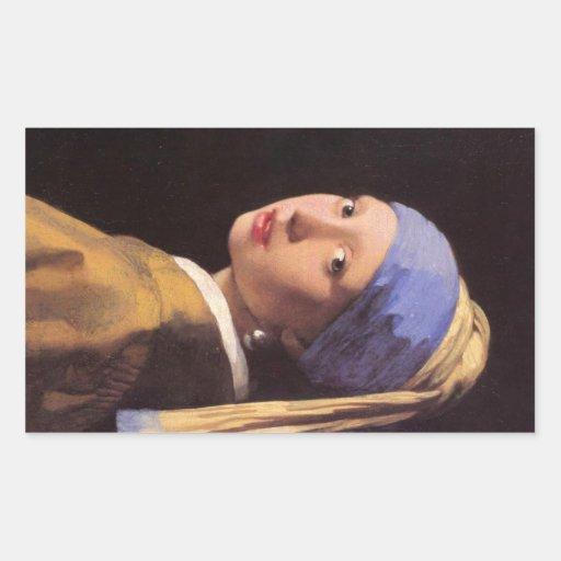 A menina com o brinco da pérola por Vermeer Adesivo Em Forma Retangular