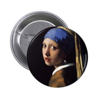 A menina com o brinco da pérola por Vermeer Bóton Redondo 5.08cm