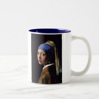 A menina com o brinco da pérola por Vermeer Caneca Dois Tons