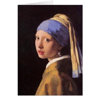 A menina com o brinco da pérola por Vermeer Cartão