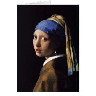 A menina com o brinco da pérola por Vermeer Cartão Comemorativo