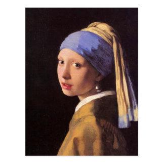 A menina com o brinco da pérola por Vermeer Cartao Postal