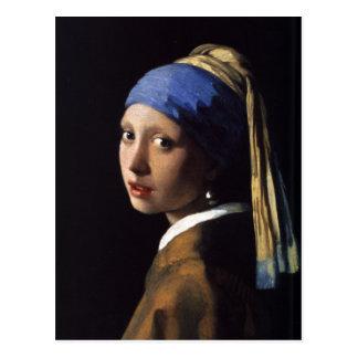 A menina com o brinco da pérola por Vermeer Cartão Postal