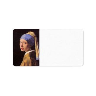 A menina com o brinco da pérola por Vermeer Etiqueta De Endereço