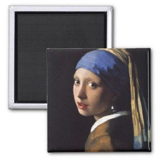 A menina com o brinco da pérola por Vermeer Ímã Quadrado